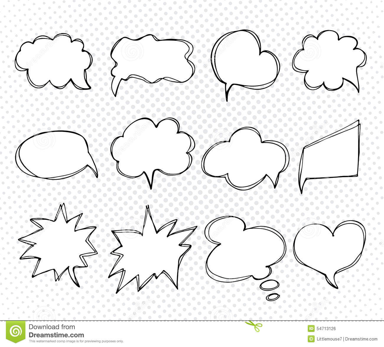 Collection Of Templates Speech Bubbles. Hand Drawn