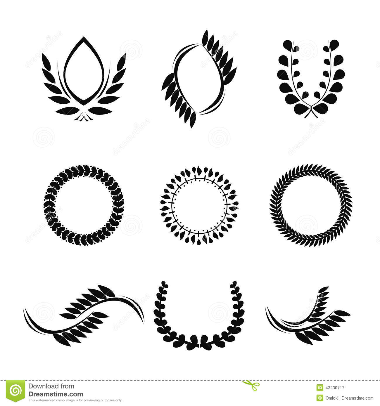 Collection Of Vector Laurel Wreaths For Award Stock Vector