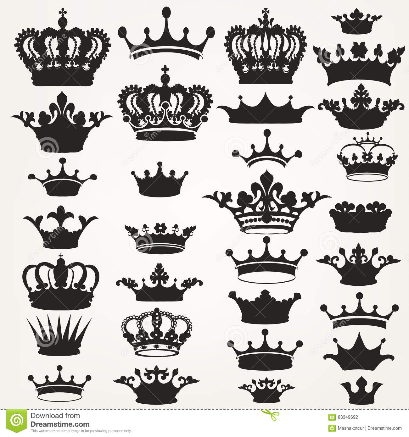 Collection Of Vector Royal Crowns For Design Stock Vector