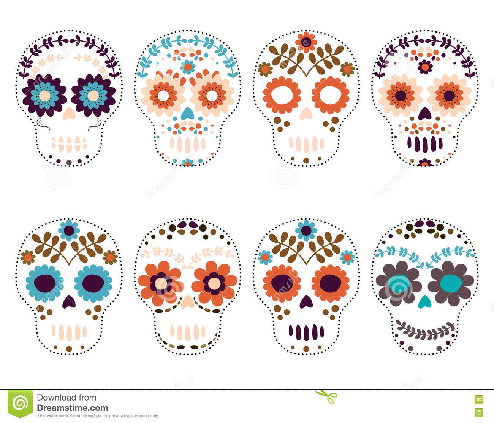 hight resolution of sugar skulls day of the dead