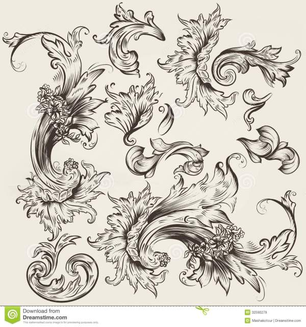 Collection Of Vector Vintage Swirls Design Stock