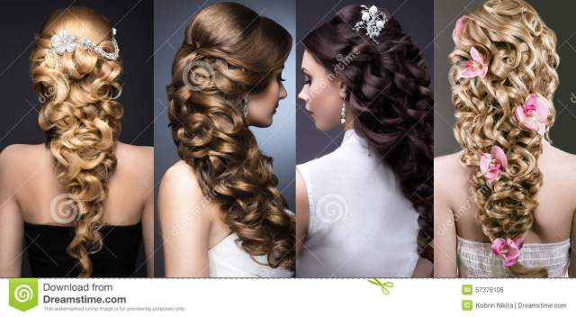 collection of wedding hairstyles. beautiful girls stock