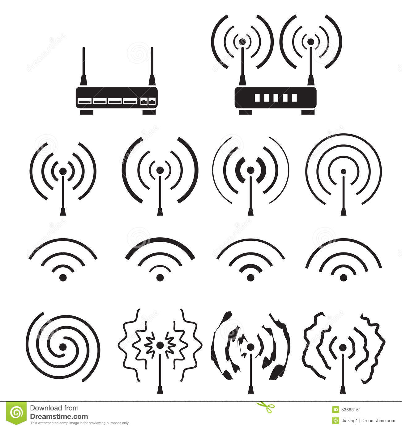 Collection Of Wifi And Wireless Signal Wave And Some