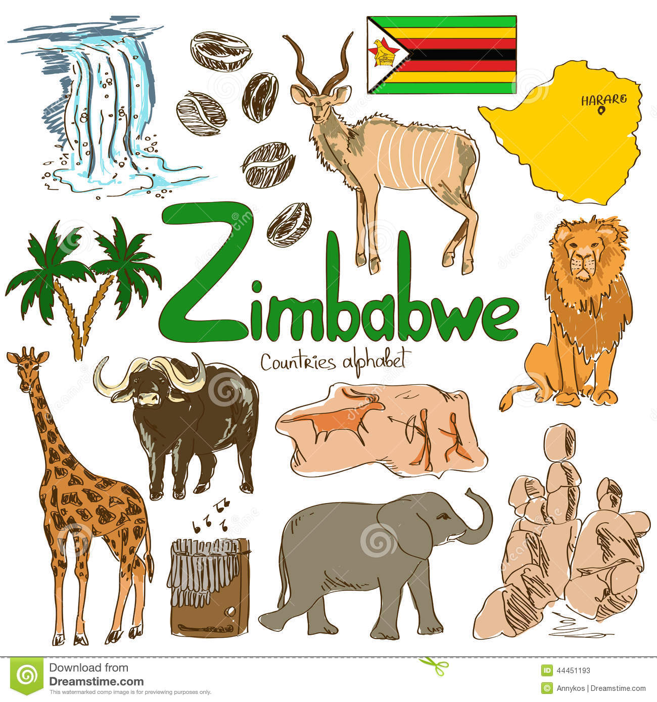 Collection Of Zimbabwe Icons Stock Vector