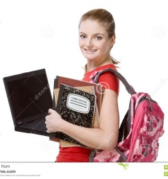 college female student girl with laptop backpack [ 1300 x 957 Pixel ]