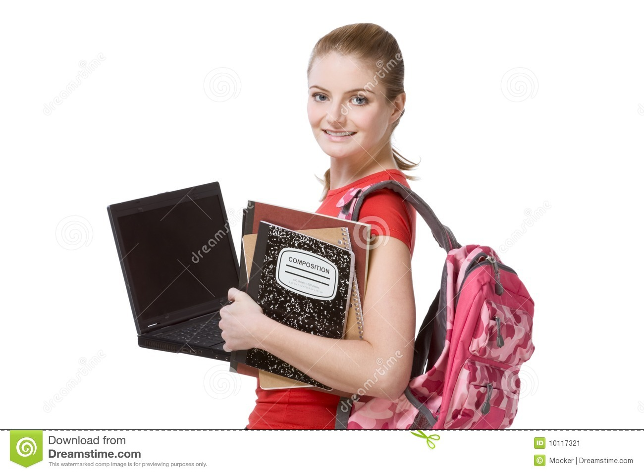 hight resolution of college female student girl with laptop backpack
