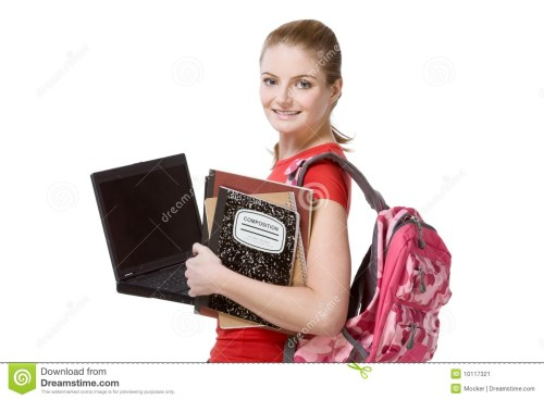 small resolution of college female student girl with laptop backpack