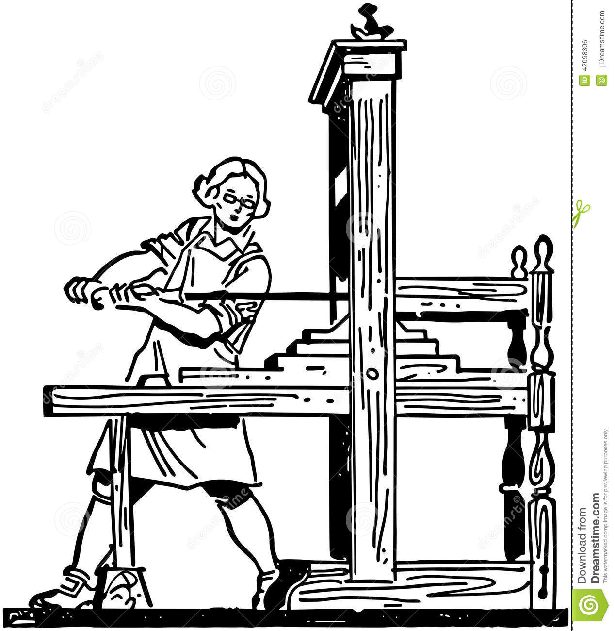 Colonial Printing Press Stock Vector Illustration Of