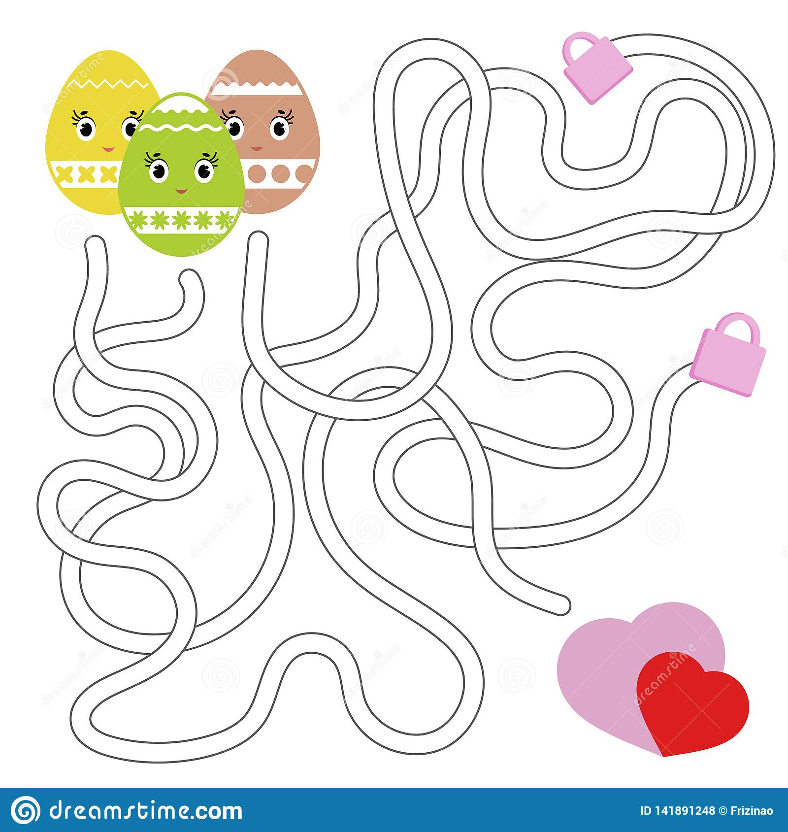 Color Abstract Labyrinth Kids Worksheets Activity Page