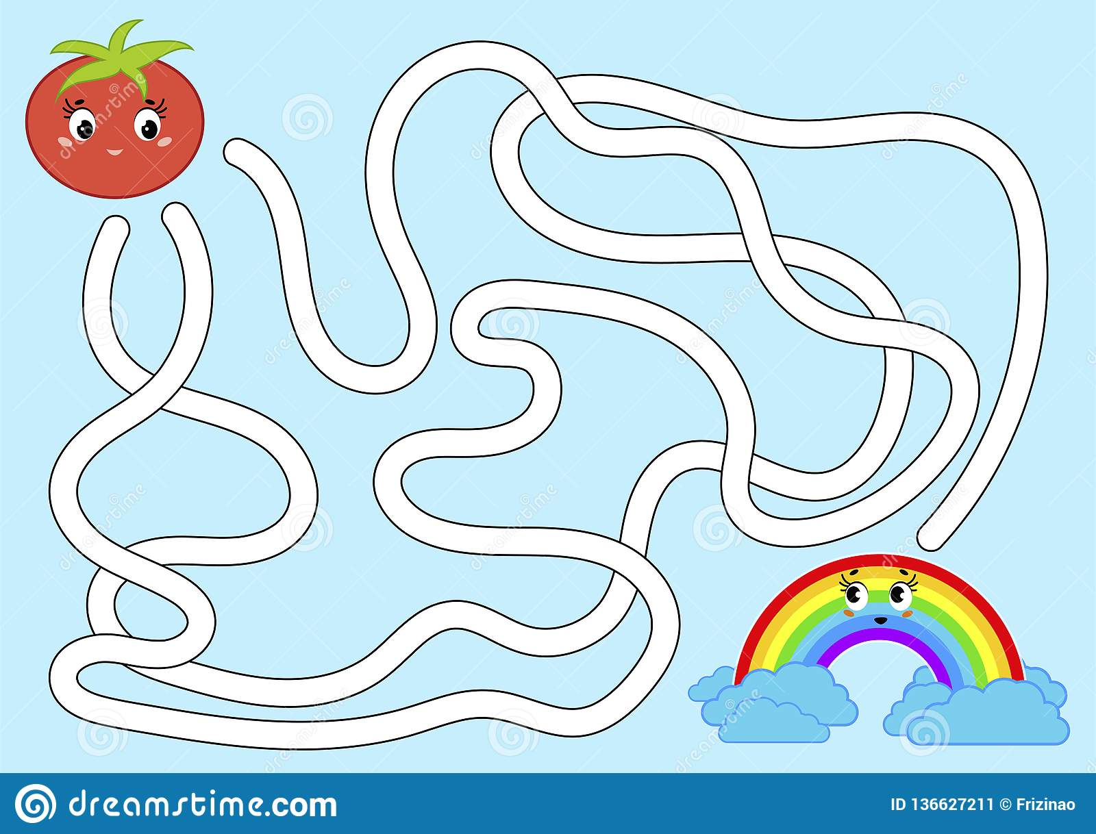 Color Abstract Maze Help The Tomato Get To The Rainbow