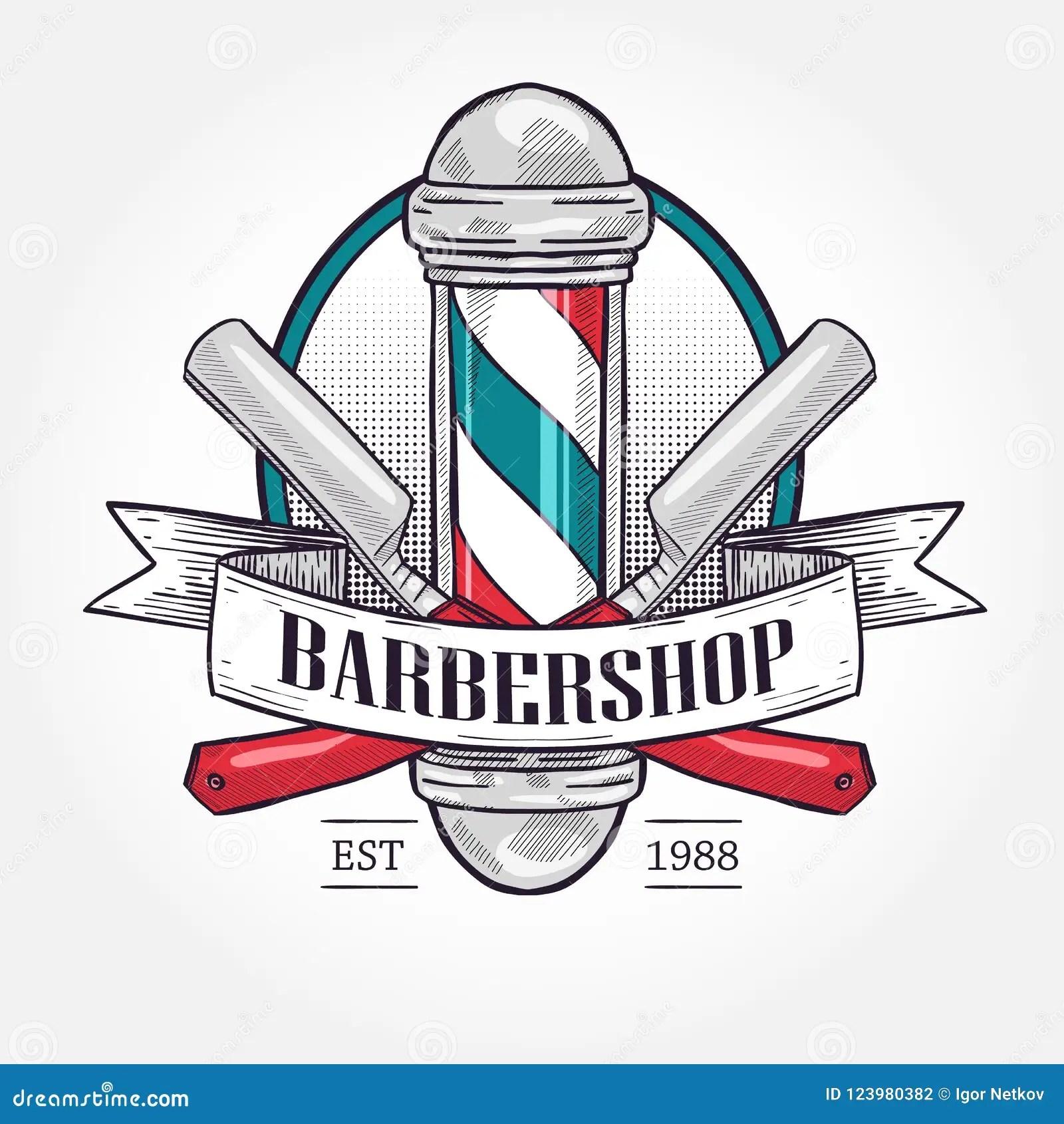 color barbershop logo stock