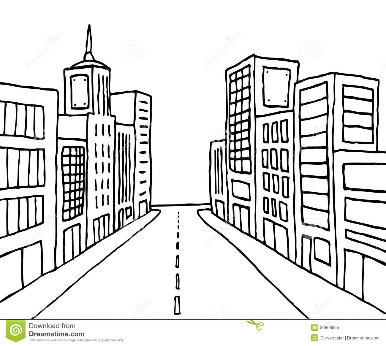 Color Cartoon Line City Royalty Free Stock Photo