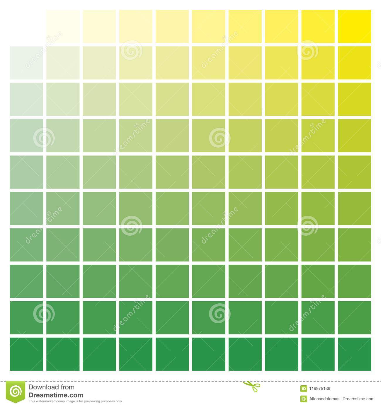 Color Chart Green Yellow Print Production Color Guide Ink