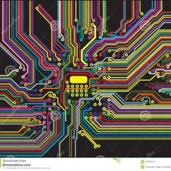Motherboard Circuit Diagram Network Schematic Color Stock Illustration. Illustration Of - 13233114