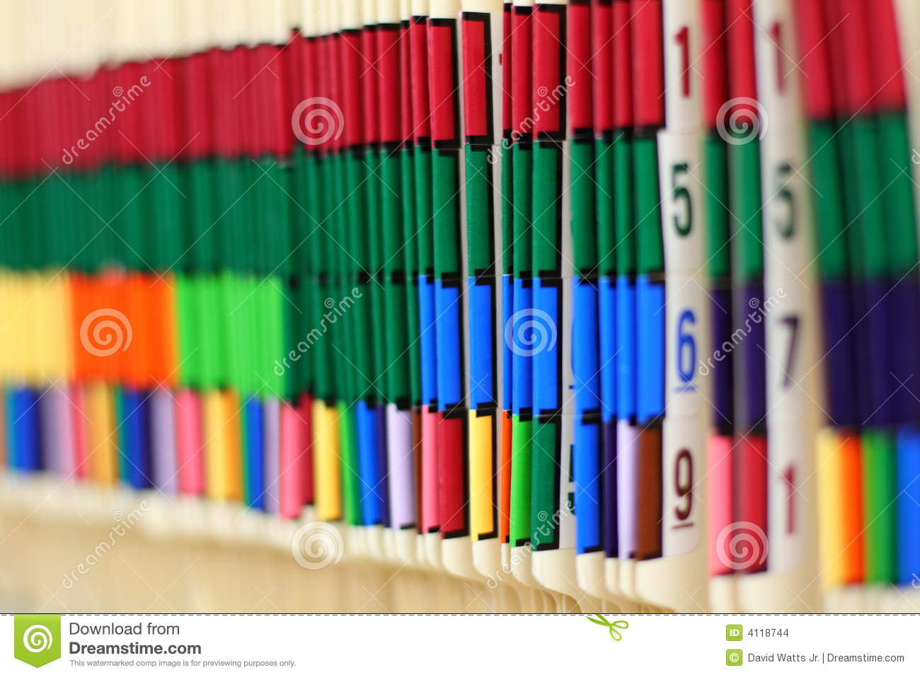 Color Coded Medical Records Stock Photo  Image 4118744