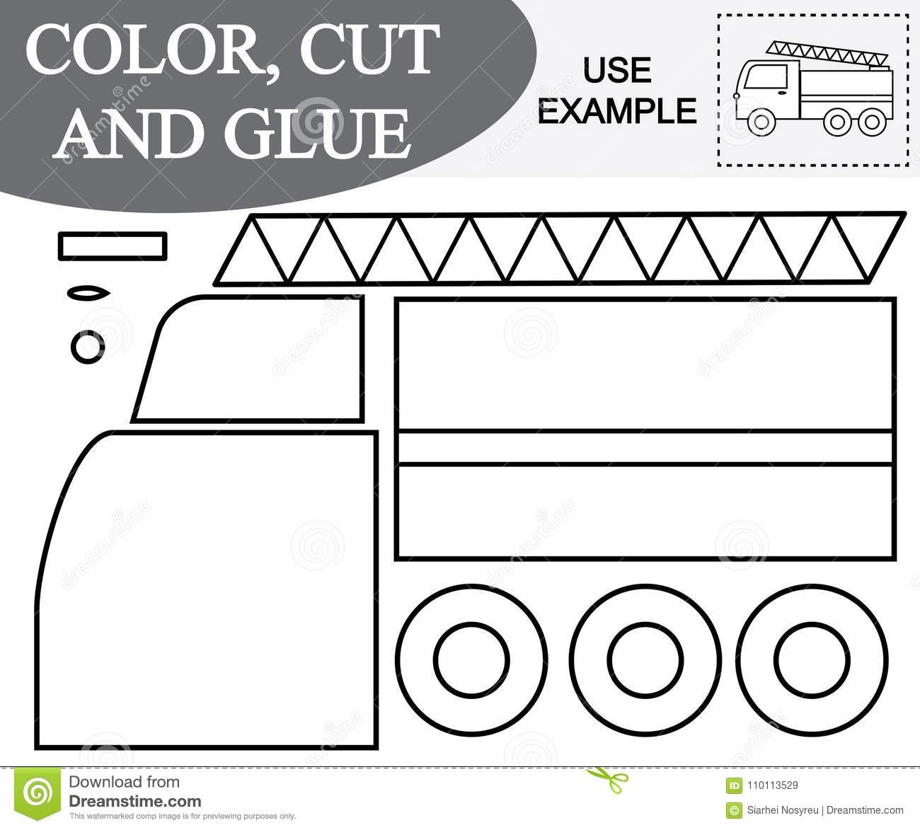 Color Cut And Glue Image Of Fire Escape Car Educational