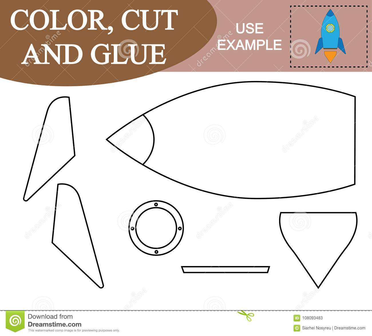 Color Cut And Glue To Create The Image Of Space Rocket