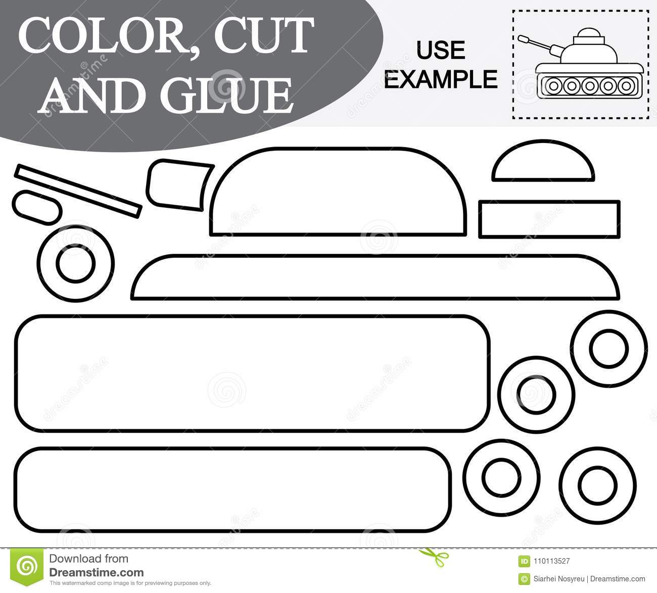 Color Cut And Glue To Create The Image Of Tank Transport