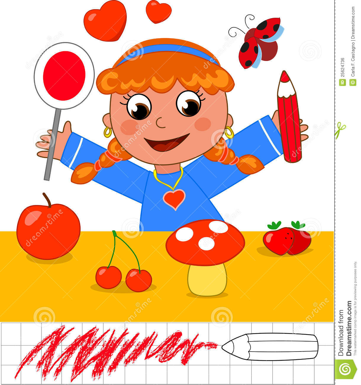 Color Game Girl With Red Objects Royalty Free Stock Image