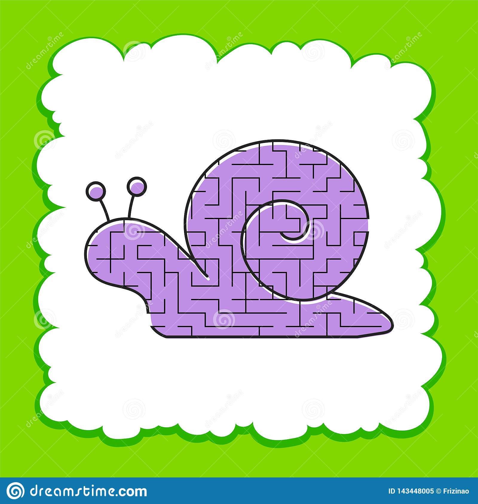 Color Labyrinth Is A Cute Snail Kids Worksheets Activity