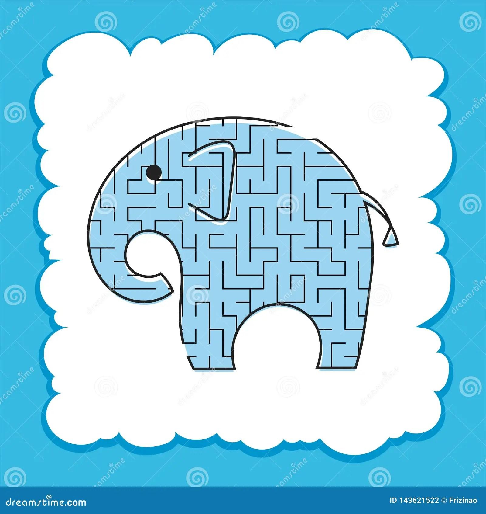 Color Labyrinth Toon Elephant Kids Worksheets Activity