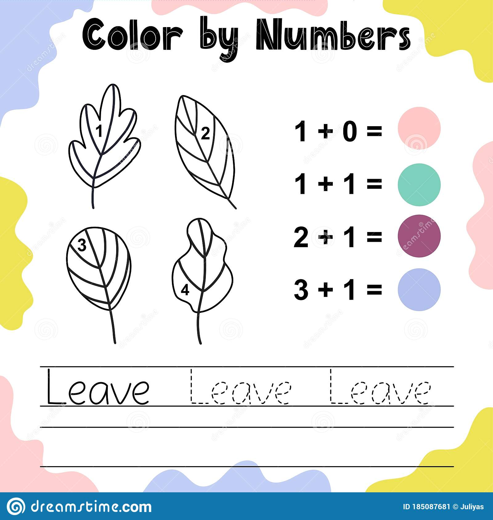 Color The Leaves By Numbers Funny Coloring Game Stock