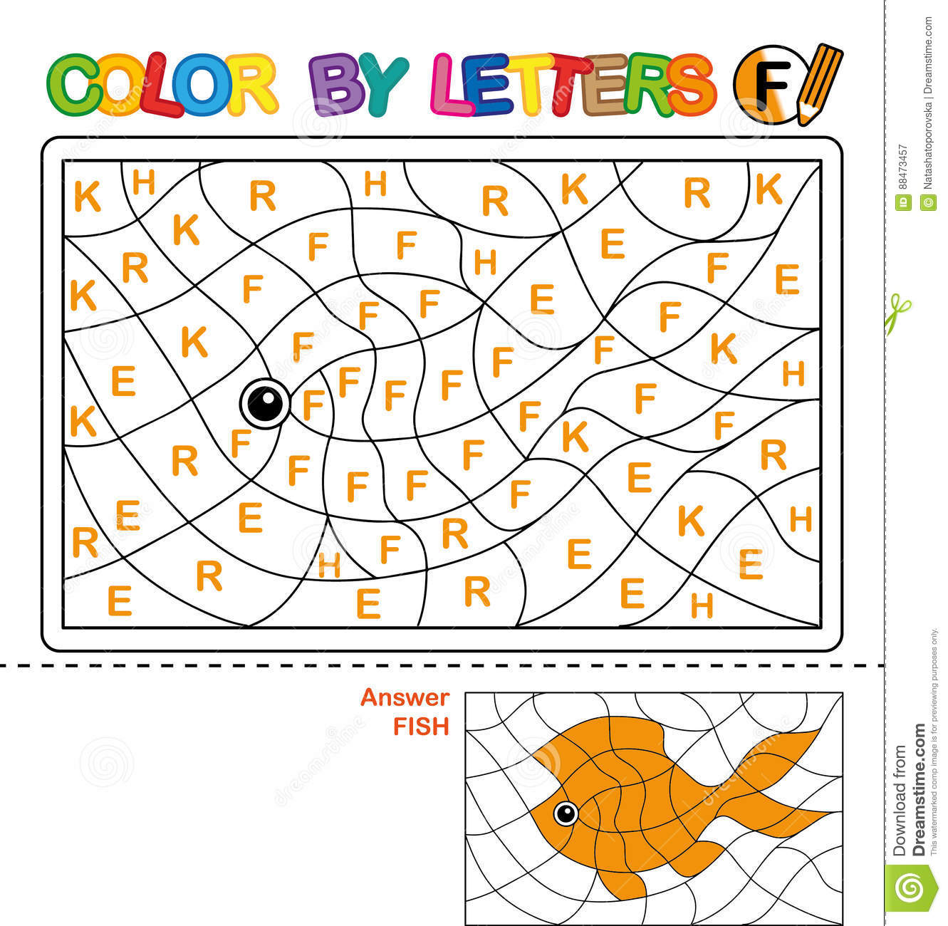 Color By Letter Puzzle For Children Fish Cartoon Vector