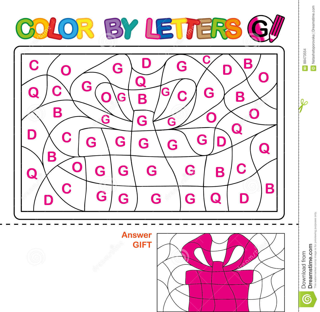 Download Color By Letter. Puzzle For Children. Gift Stock Vector -  Illustration Of English