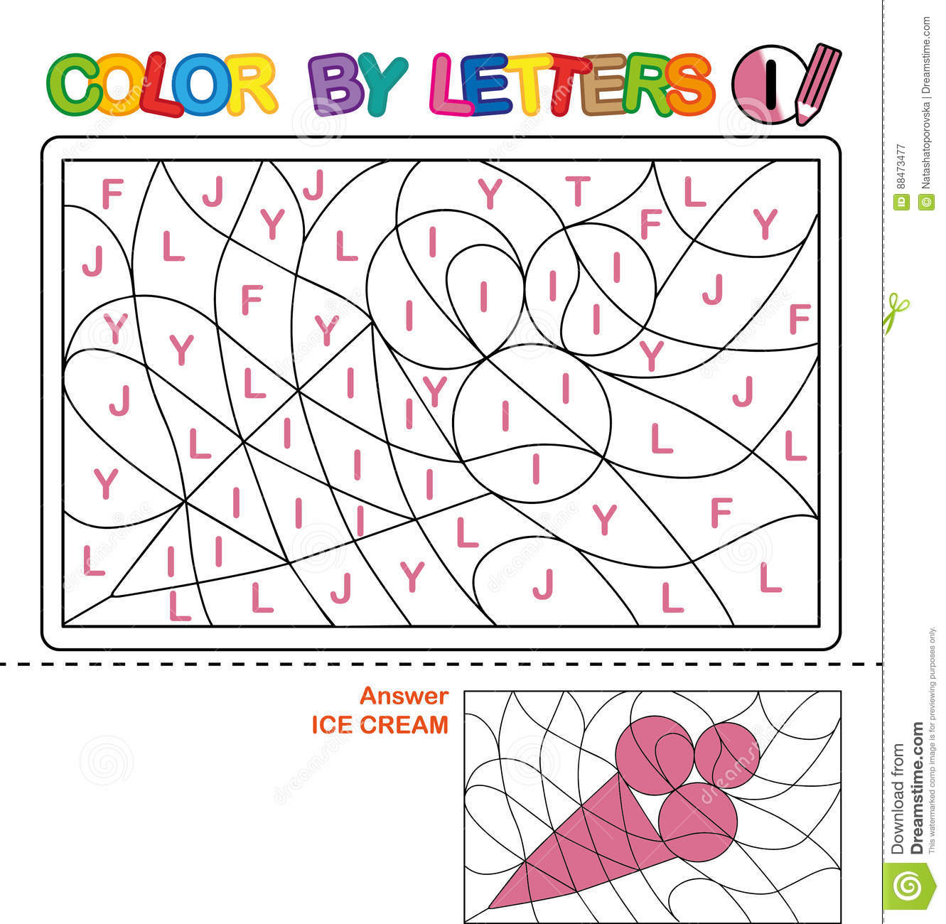 Color By Letter Puzzle For Children Ice Cream Stock