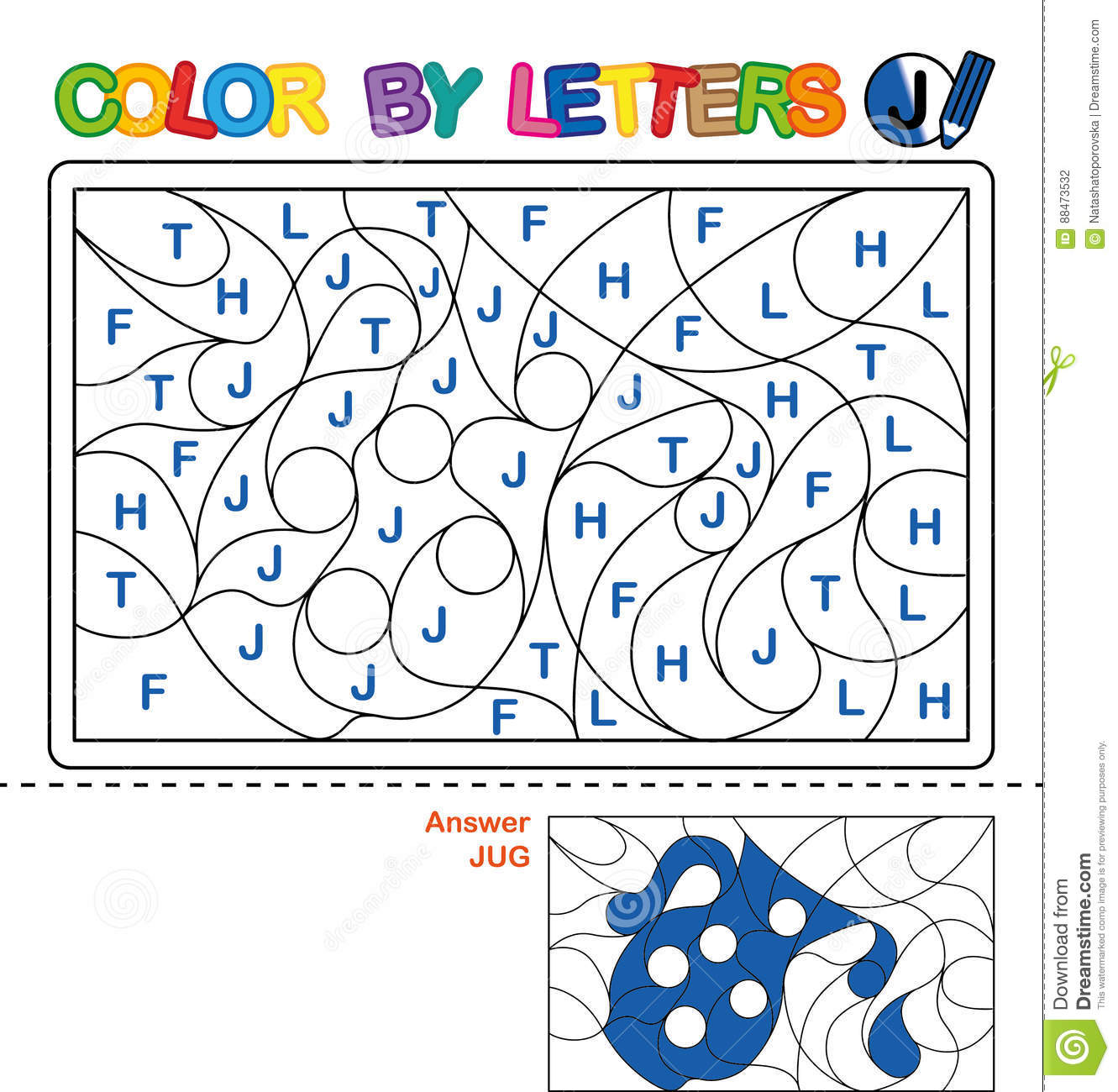 Color By Letter Puzzle For Children Jug Stock Vector