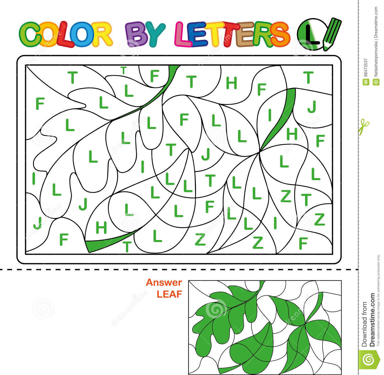 Color By Letter Puzzle For Children Leaf Stock Vector