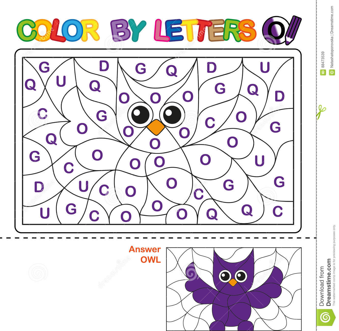 Color By Letter Puzzle For Children Owl Stock Vector