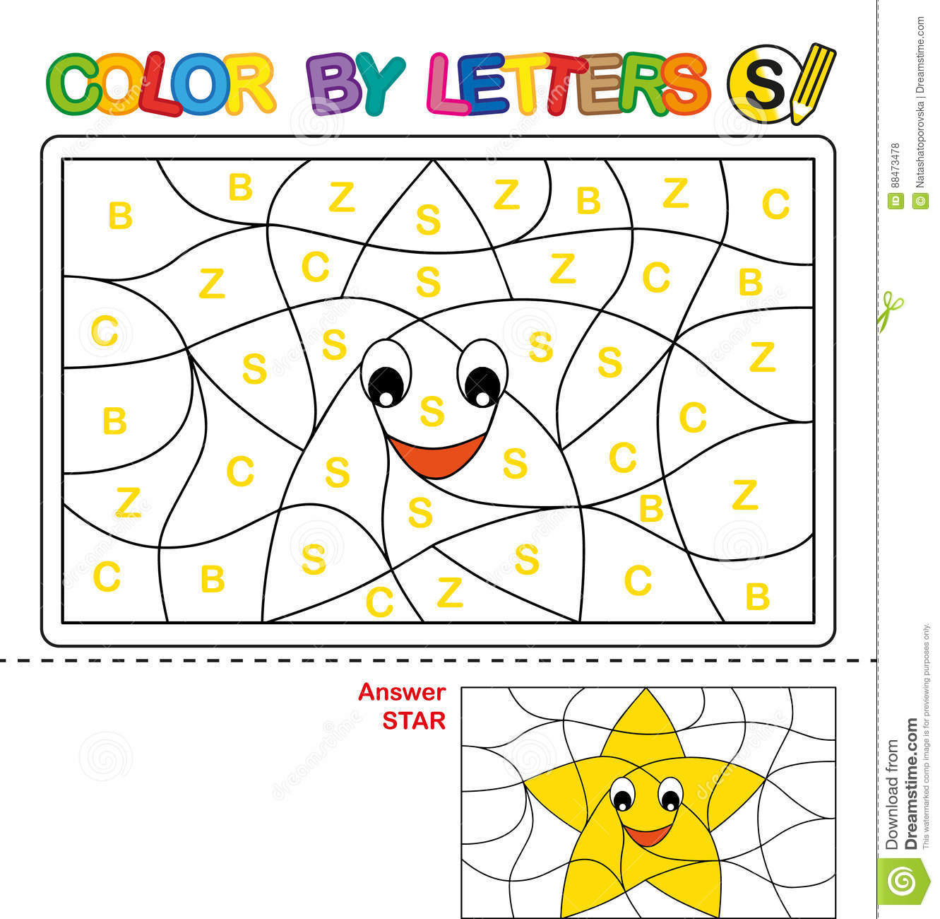 Color By Letter Puzzle For Children Star Stock Vector