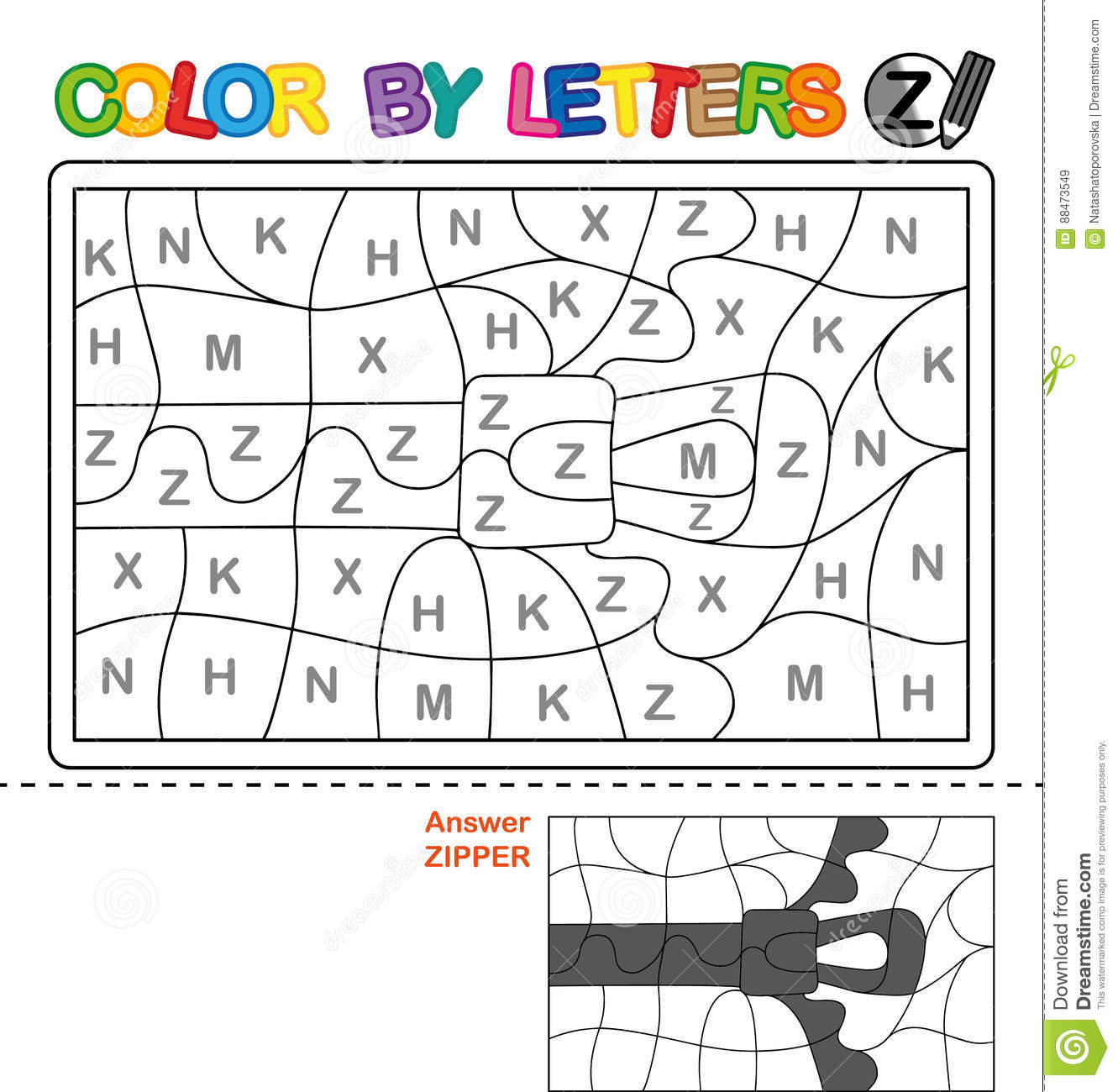 Color By Letter Puzzle For Children Zipper Stock Vector