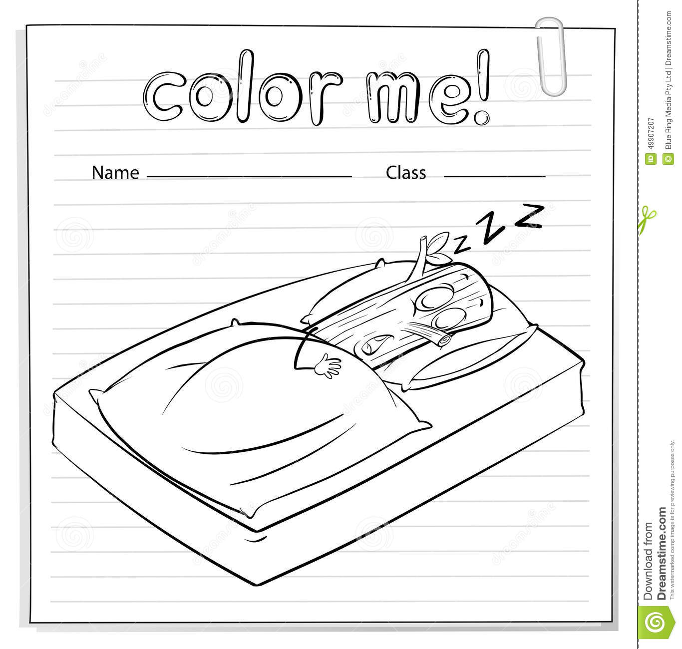 A Color Me Worksheet With A Log Sleeping Stock Vector