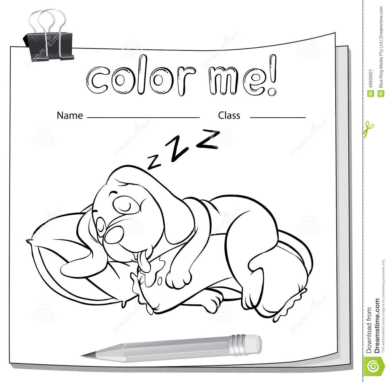 A Color Me Worksheet With A Sleeping Dog Stock Vector