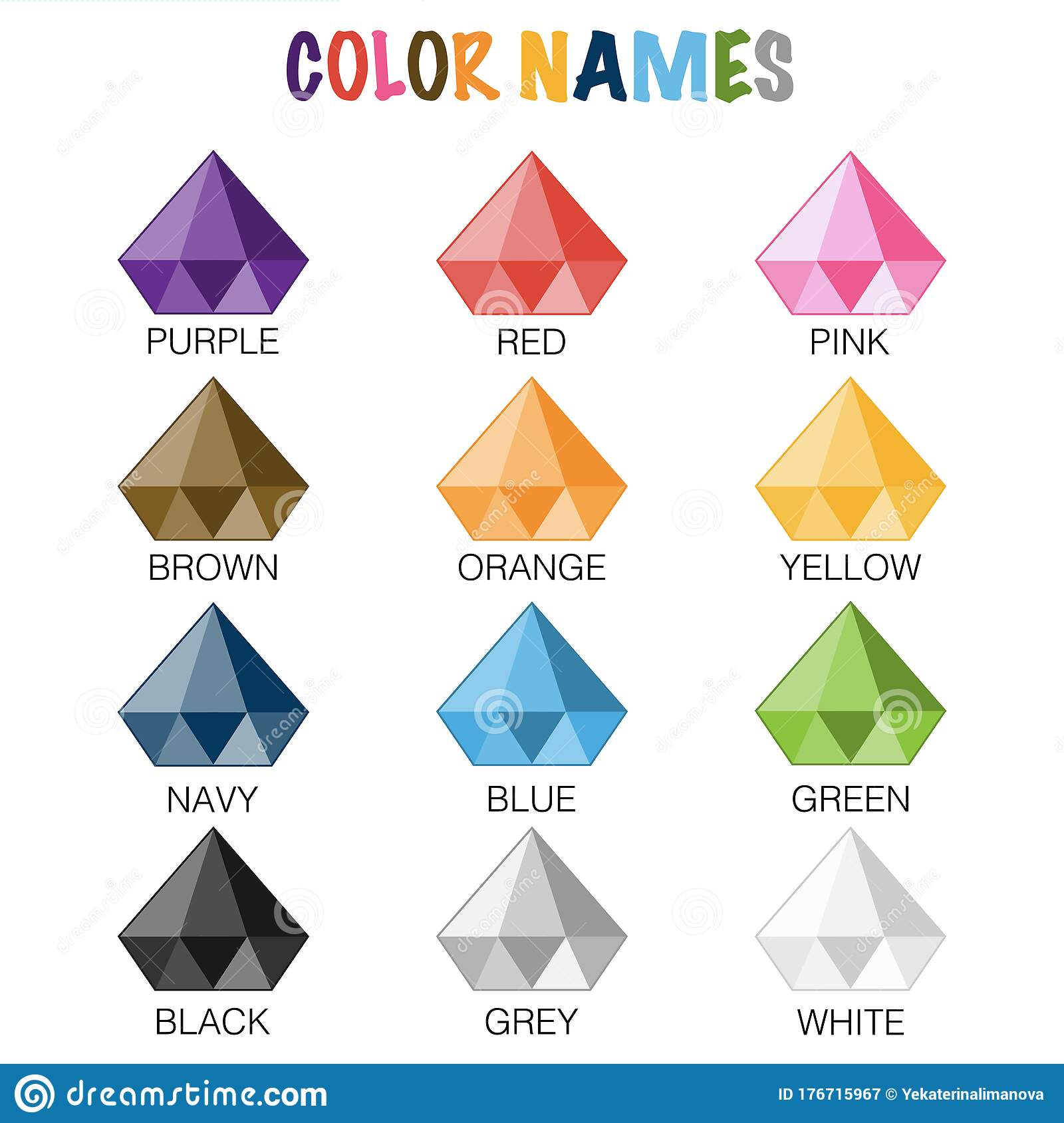 Color Names Educaional Worksheet For Preschool Stock