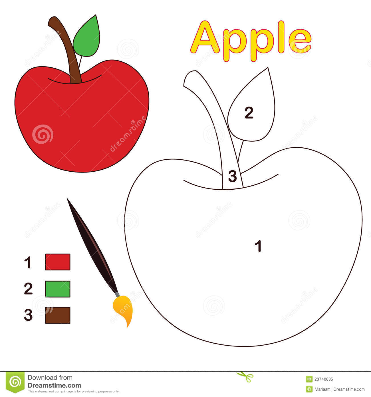 Color By Number Apple Stock Vector Illustration Of