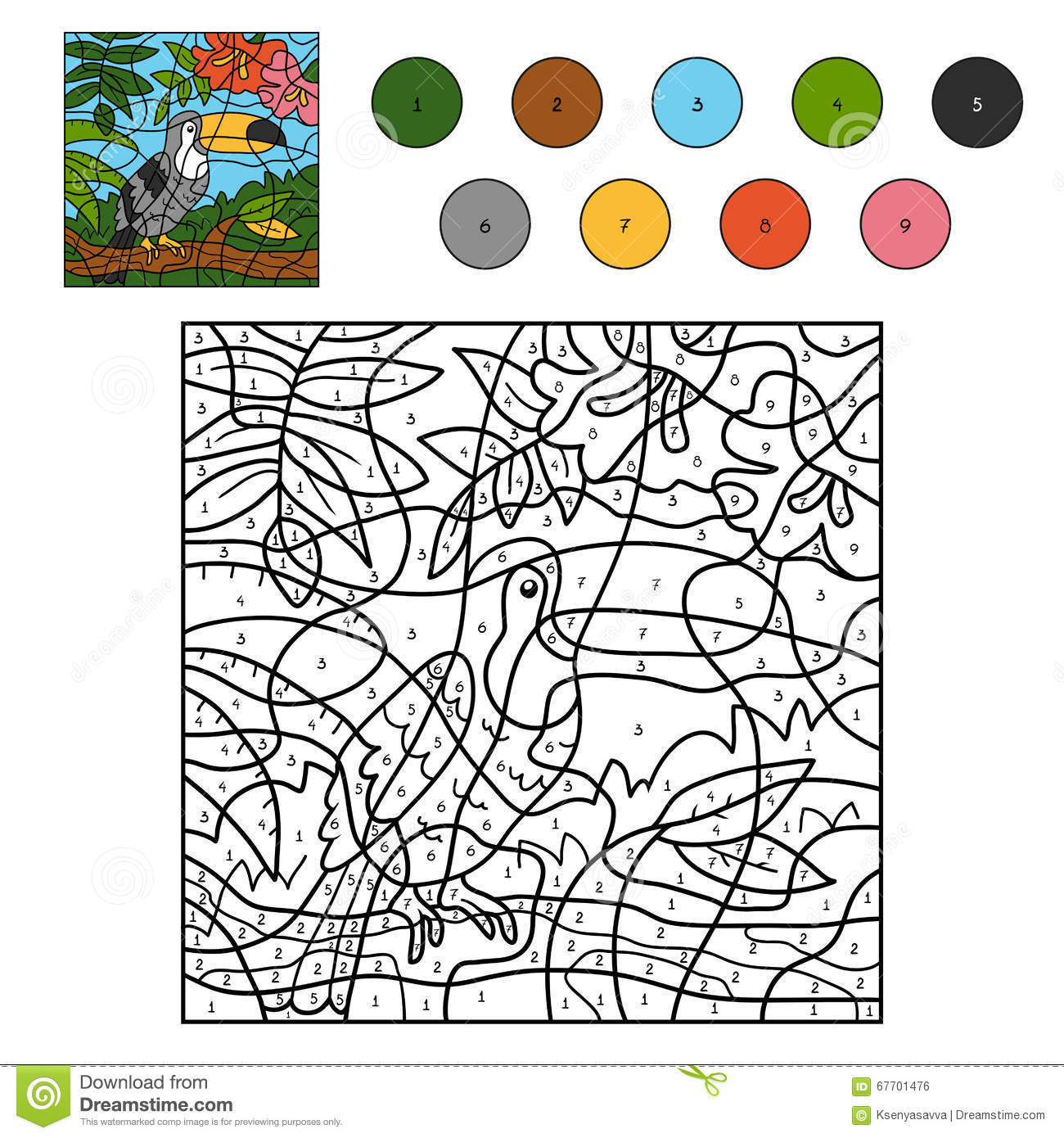 Color By Number For Children Toucan Stock Vector