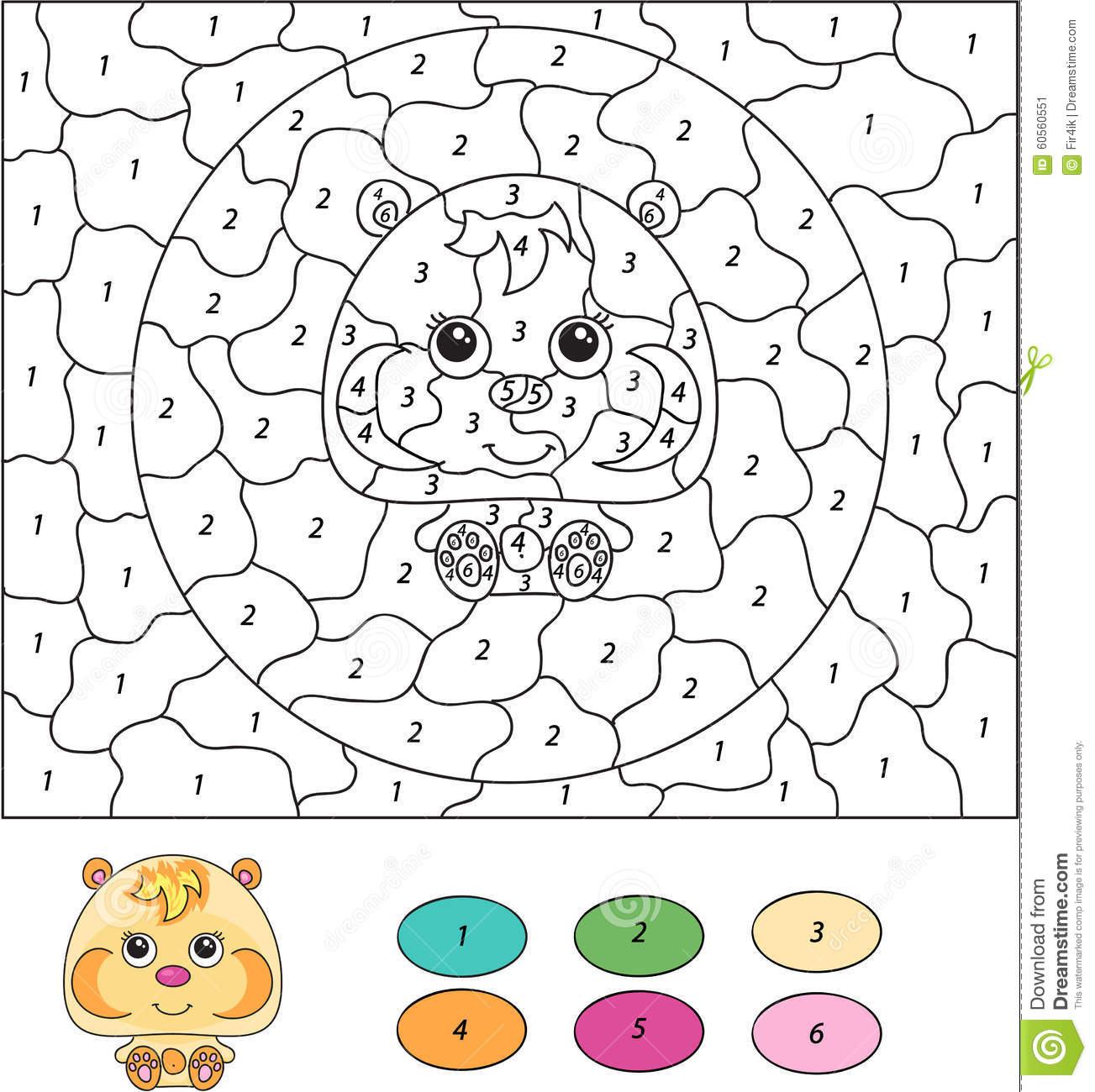 Color By Number Educational Game For Kids Cartoon Hamster