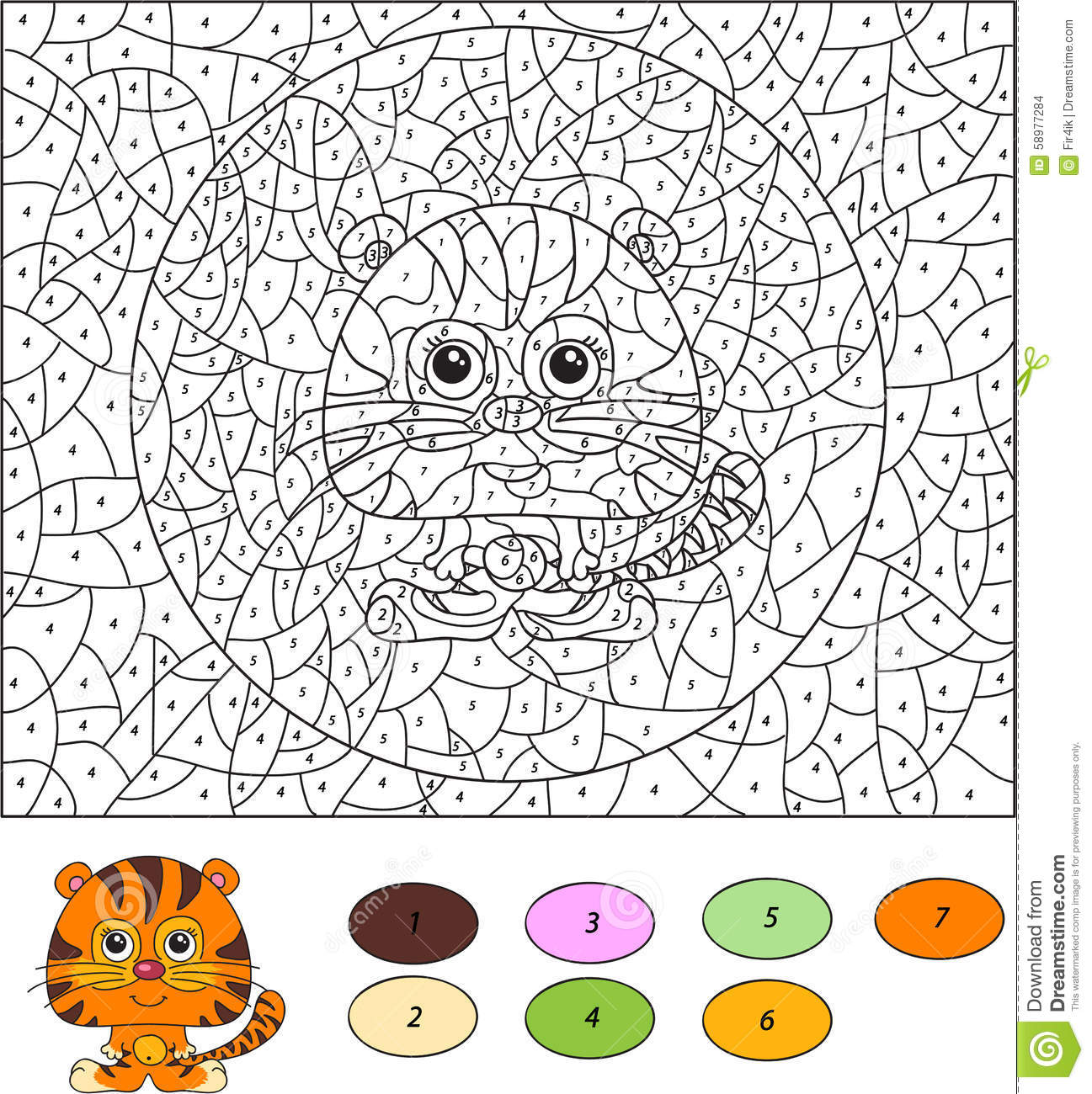 Color By Number Educational Game For Kids Cartoon Tiger