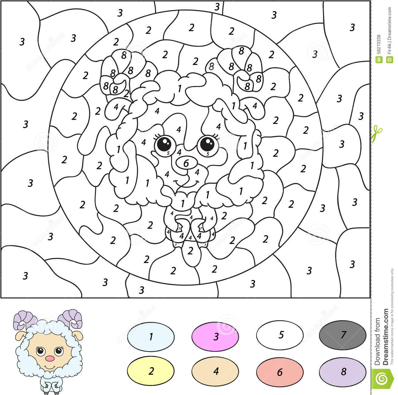 Color By Number Educational Game For Kids Cute Lamb Ram