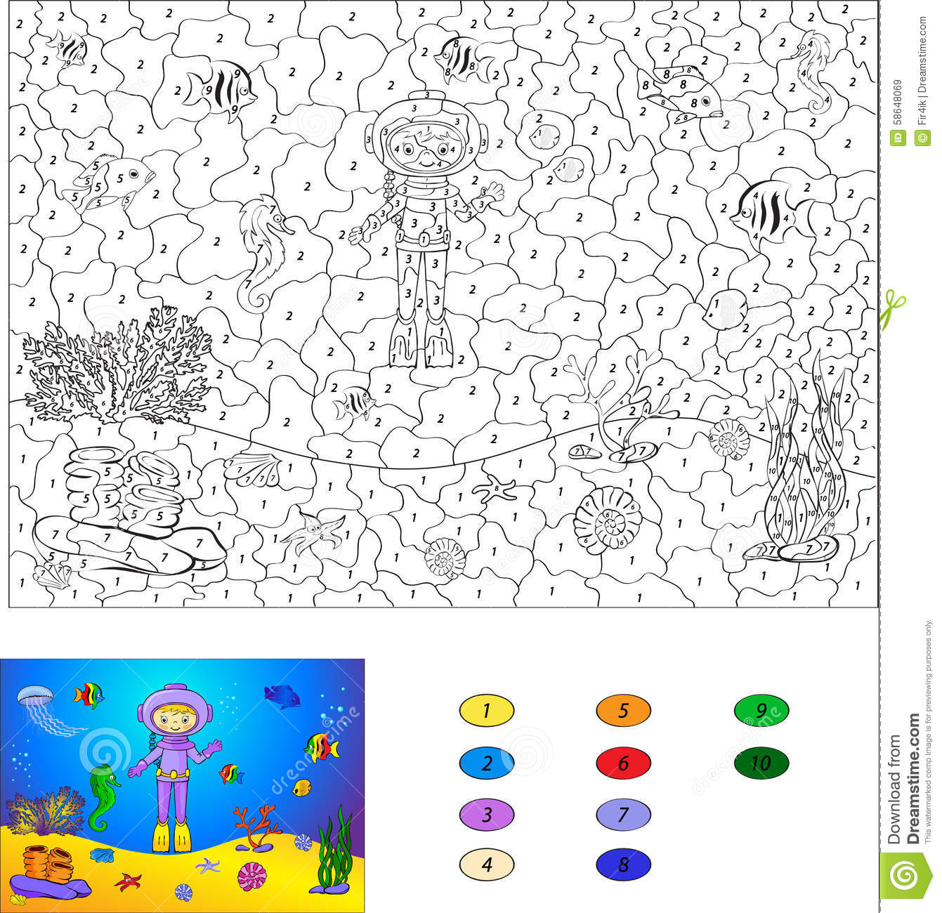 Color By Number Educational Game For Kids Diver On The