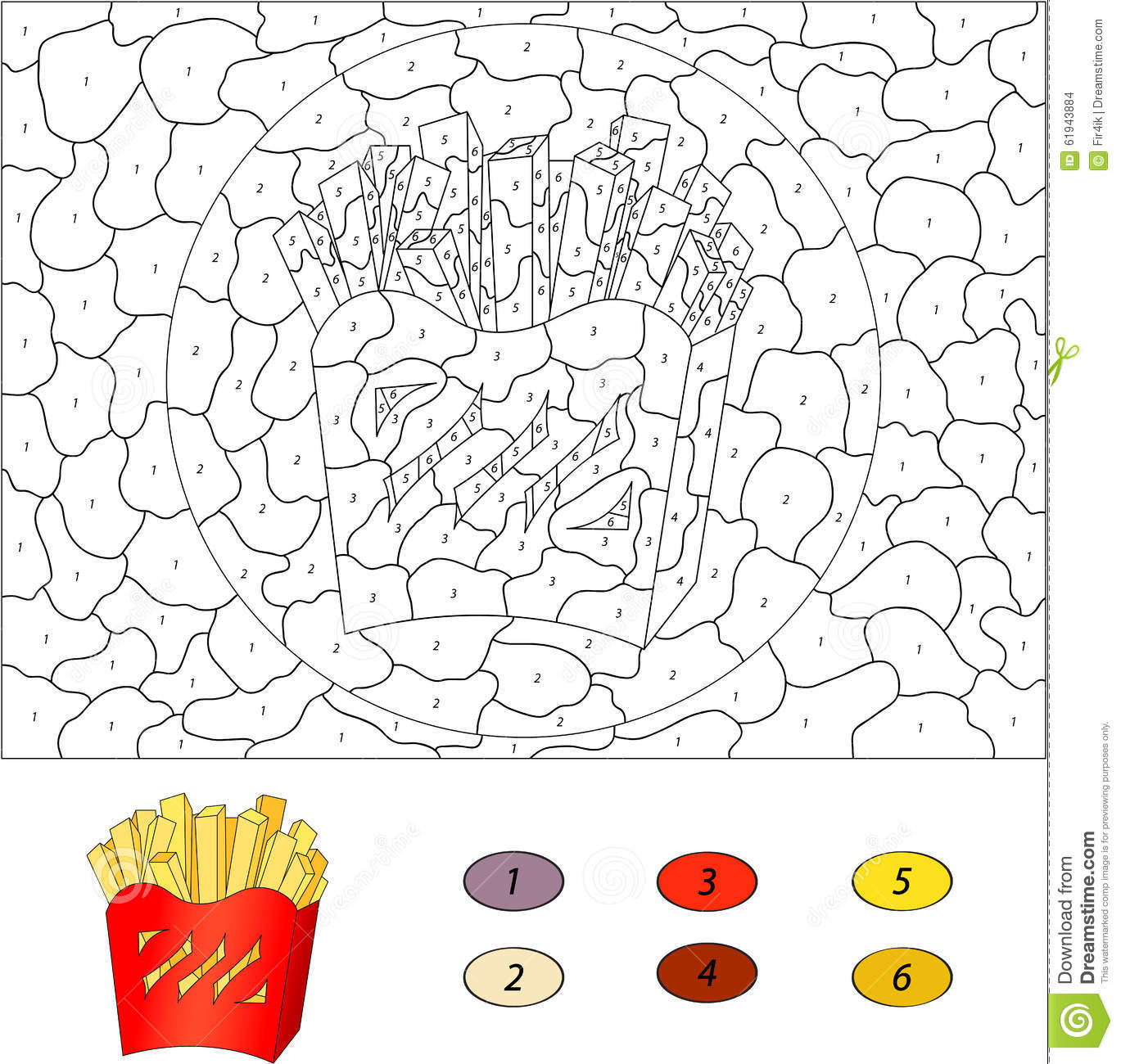 Color By Number Educational Game For Kids French Fries In