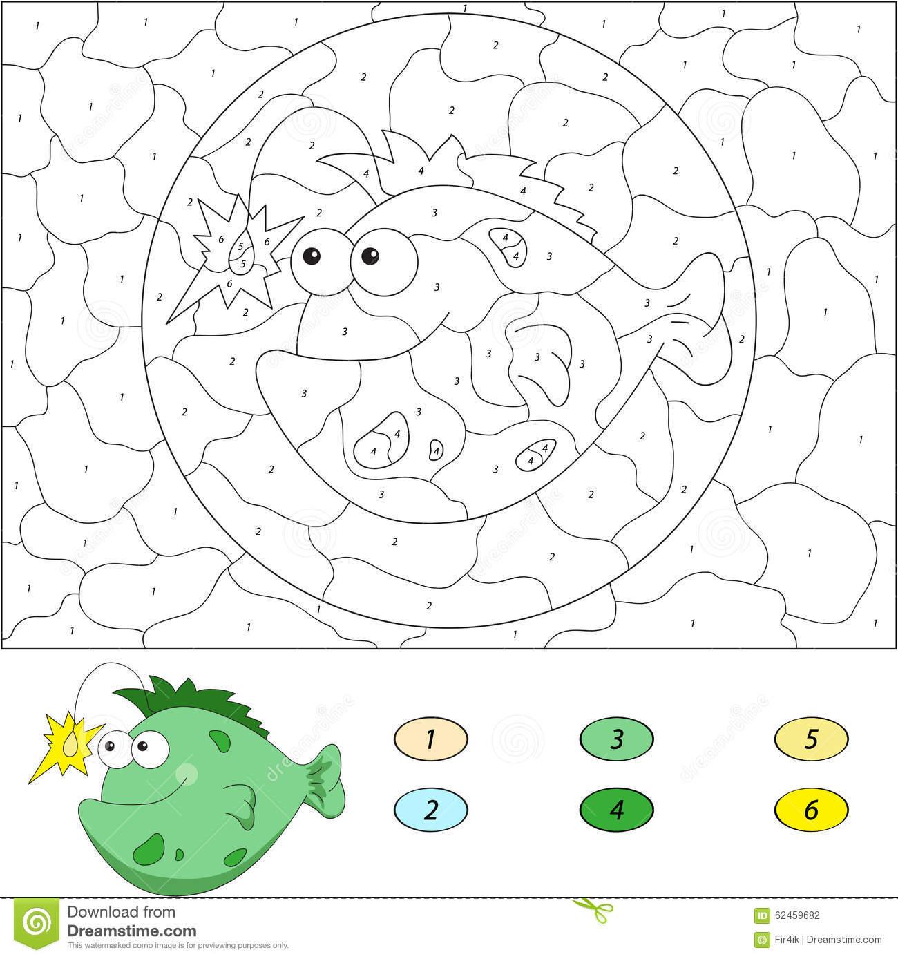 Color By Number Educational Game For Kids Funny Cartoon Fish An Stock Vector