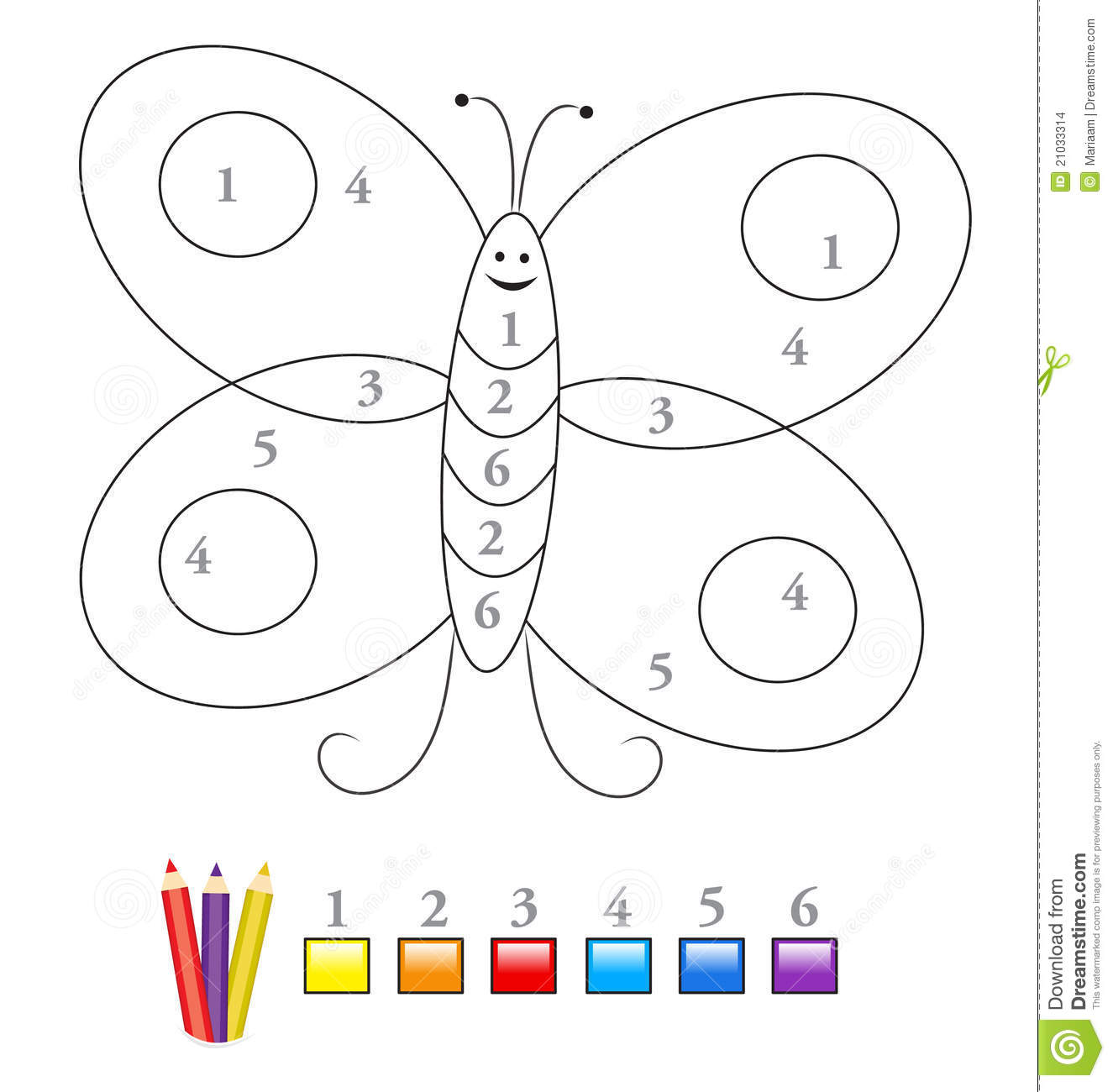 Color By Number Game Butterfly Stock Vector
