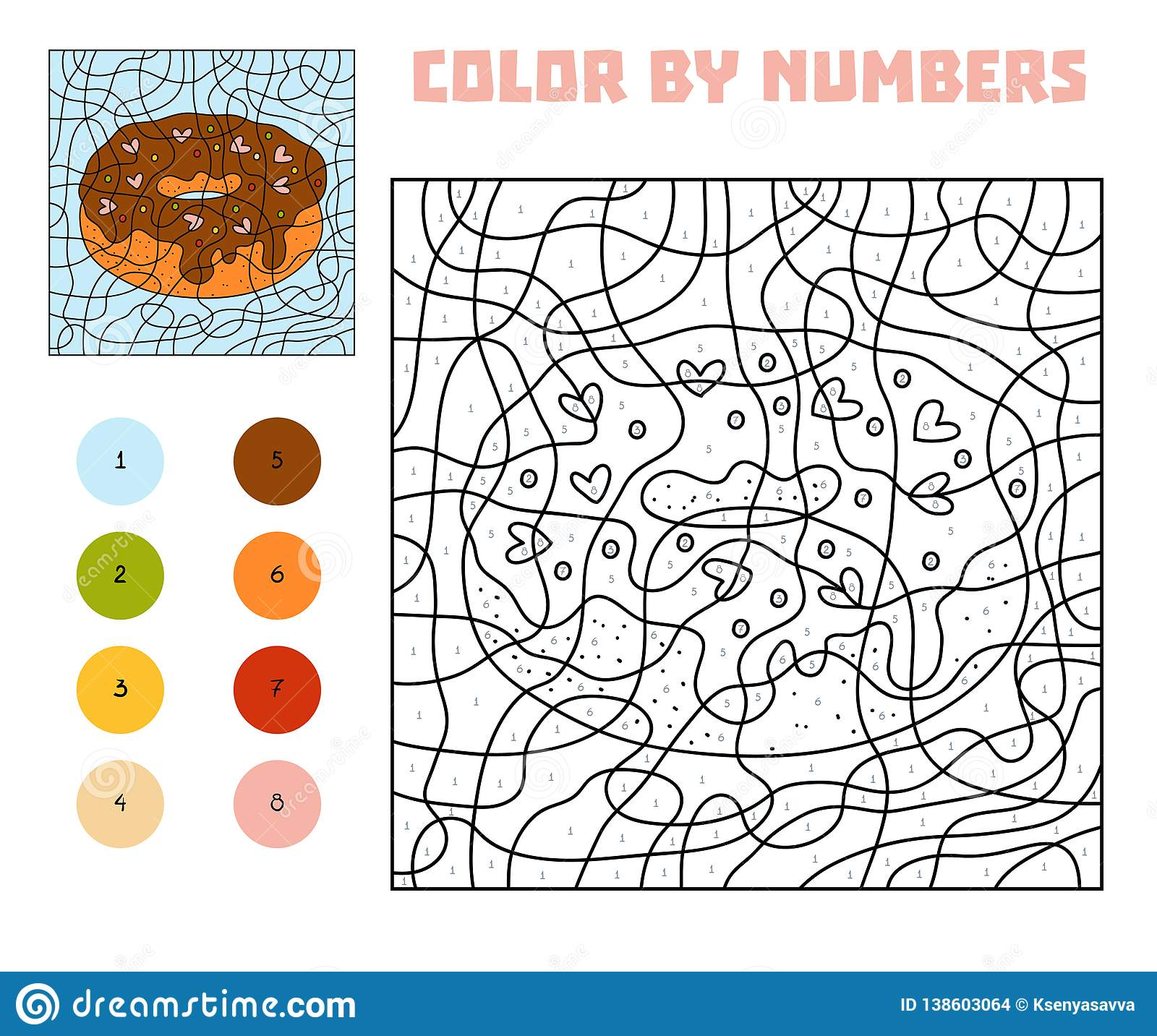 Color By Number Game For Children Donut Stock Vector