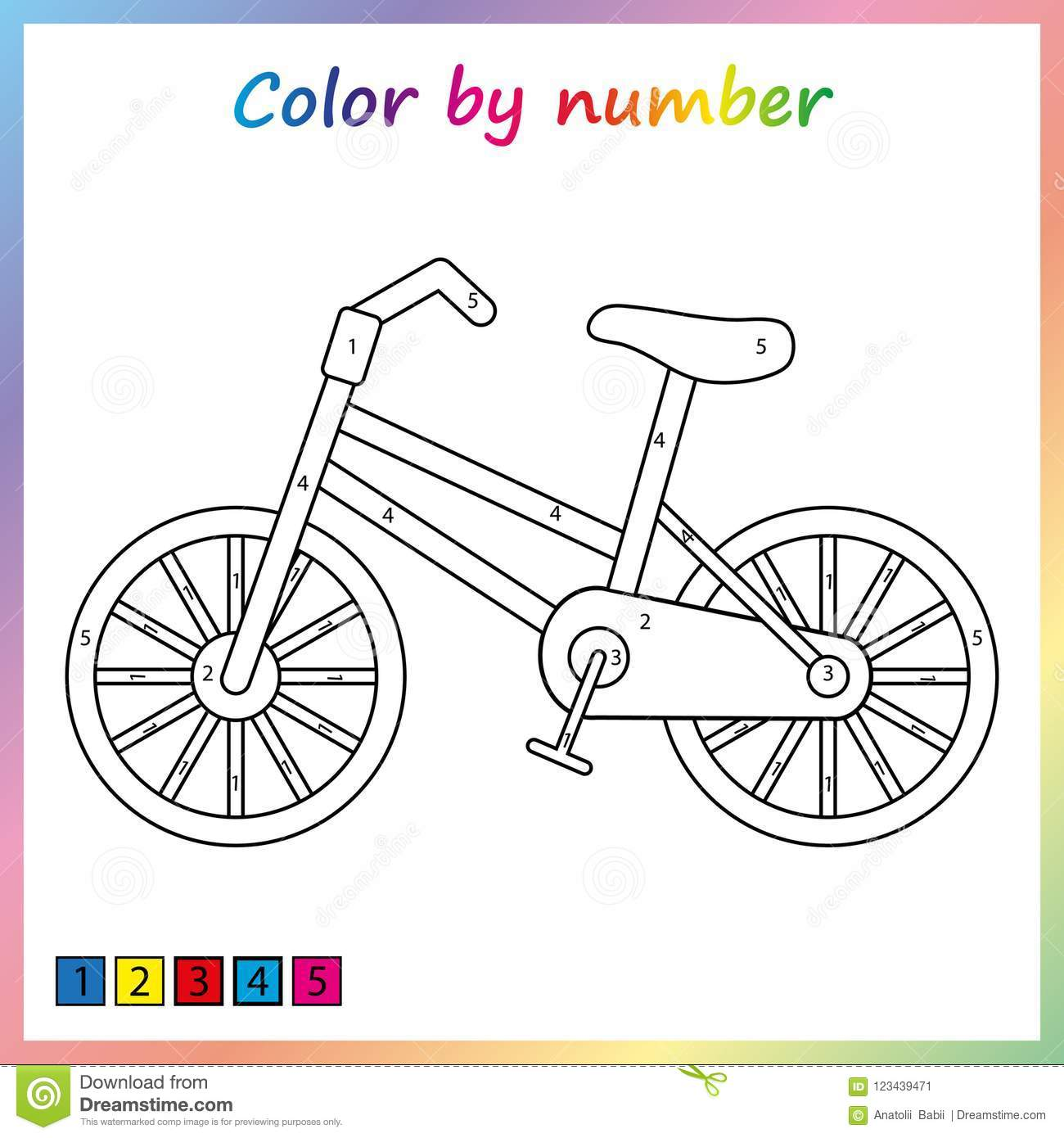 Worksheet For Education Painting Page Color By Numbers