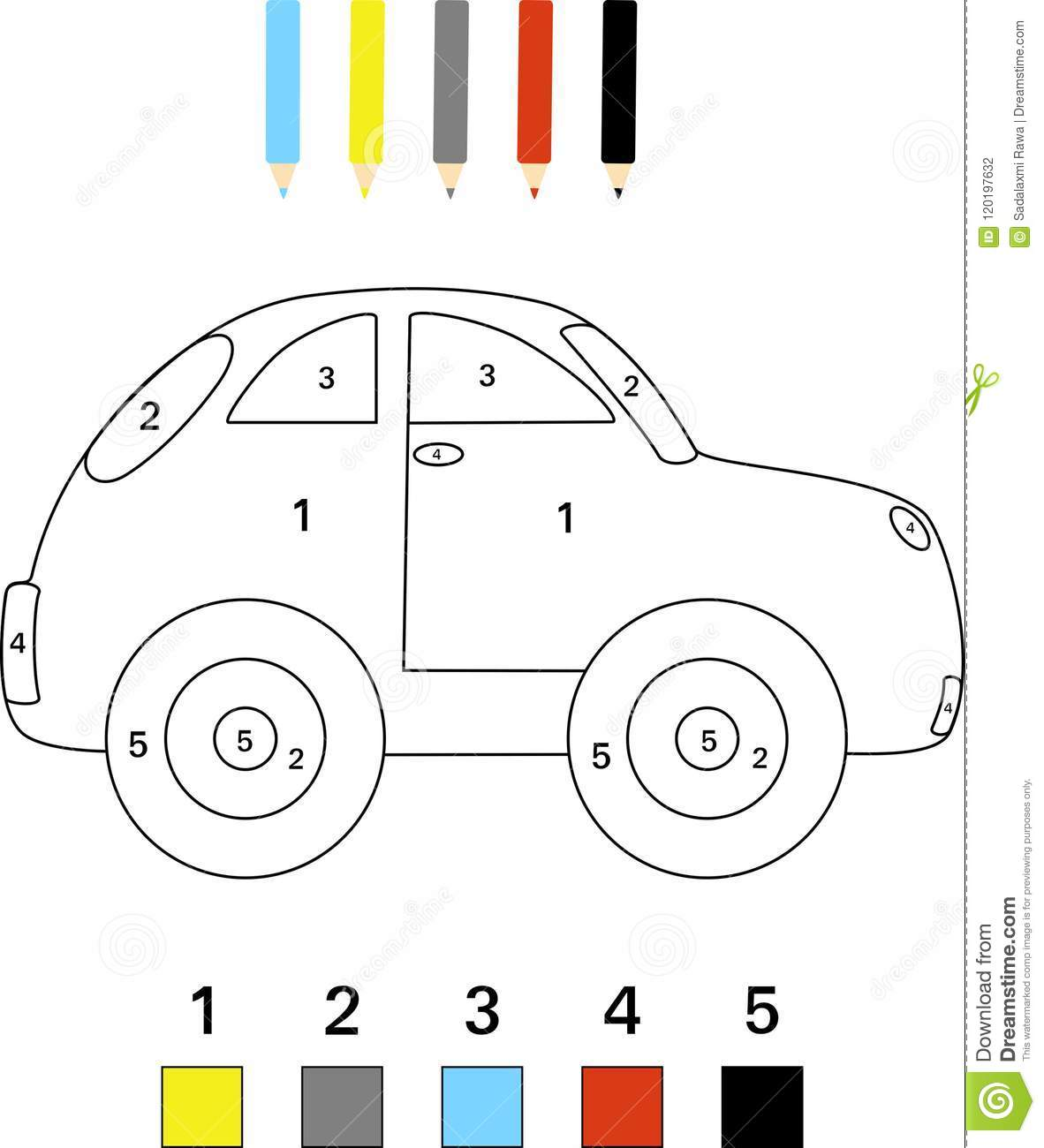 Color By Number Game For Kids Stock Photo