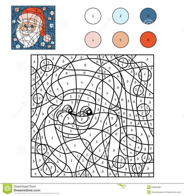 Color By Number Santa Claus Stock Vector Image 50656298